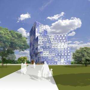 1. Architectenbureau Onix noemt het nieuwe woongebouw voor studenten in Utrecht De Cloud. Die naam spreekt voor zich bij het zien van deze artist impression.