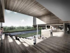 10. Ook op de campus TU-Delft Midden West wordt in 2013 gestart met studentenhuisvesting naar ontwerp van Studioninedots/HVDN Architecten.