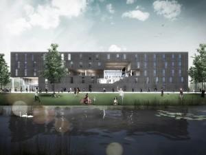 11. Bij Suite 9 in Delft creëert Studioninedots/HVDN een indrukwekkende gemeenschappelijke ruimte die dwars door alle verdiepingen loopt.