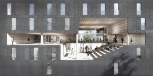 12. Bij Suite 9 in Delft creëert Studioninedots/HVDN een indrukwekkende gemeenschappelijke ruimte die dwars door alle verdiepingen loopt.