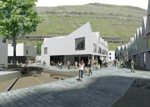 Prijsvraagontwerp centrum Klaksvík. reSET architecture stelt een beeld van een organisch gevormd stadscentrum naar Europees model voor, gestuurd door al aanwezige natuurlijke en culturele structuren. Het nieuwe stadshart voorziet in een samenspel van afwisselende ruimtelijke kwaliteiten die zijn toegespitst op verbinding, ontmoeting en bescherming tegen het ruige klimaat. Intieme collectieve ruimten zijn het resultaat van een ontwerpstrategie waarbij de openbare ruimte wordt uitgesneden uit een stedelijke massa.