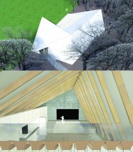 Het multifunctionele bospaviljoen voor Zonnewende is samengesteld uit twee zalen die haaks boven elkaar liggen. Samen is het een theaterzaal met balkon maar de zalen kunnen ook gescheiden worden gebruikt. De toegankelijke dakvorm is een tribune voor het aangrenzende sportveld en een klimelement voor de survivalschool.