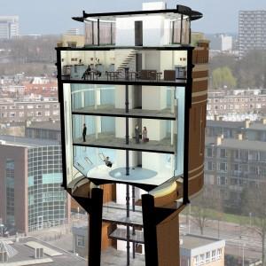 Het nieuwe werken in de watertoren aan de Vaartsche Rijn in Utrecht. Vergaderruimtes, expositieruimte, zzp-plekken en horeca. Start werkzaamheden naar verwachting begin 2013.