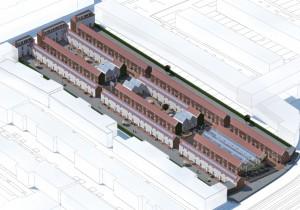 Overzicht van het Rode Dorp, de achterste twee binnengebieden zijn gemeenschappelijke binnenhoven, de voorste is ingevuld met een kasatelier en op de voorgrond komt een kunstplein.