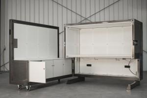 Voor een Beehive in een leegstaand kantoorgebouw in Amsterdam IJburg ontwikkelden De Groot en Veen de Beebox, een volwaardige mobiele werkplek uitermate geschikt voor locaties waar flexibel wordt omgegaan met werkplekken. Foto: Thomas Born