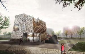 Winnend prijsvraagontwerp uit 2011 voor een horecapaviljoen in het Theo van Goghpark op IJburg. De houten gevelbekleding is opgebouwd uit een ruimtelijke lattenstructuur, met gesloten en open delen. Nog niet uitgevoerd.