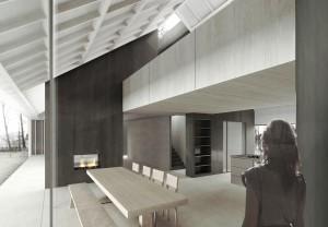 Villa in Schoorl. Een donkere metalen gevelbekleding loopt door tot in het interieur van de woning, waarvoor Prototype eveneens het ontwerp maakt. Start bouw 2013-2014.