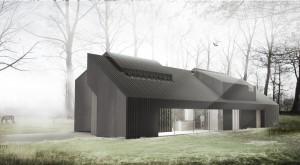 Villa in Schoorl. De moderne woonboerderij bestaat uit een aantal opengewerkte, functionele objecten welke gebaseerd zijn op het silhouet van een oer-Hollands huis. Naargelang de functies zijn de huisjes meer open of gesloten en past het silhouet zich aan.