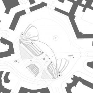 3. Nieuwe stedenbouwkundige situatie met horizontale doorsnede van het nieuwe U-Bahnhof