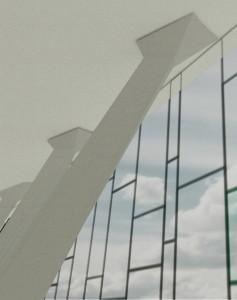 10. De kolommen krijgen een extra krachtige, vrije expressie doordat het dak erboven lijkt te zweven.