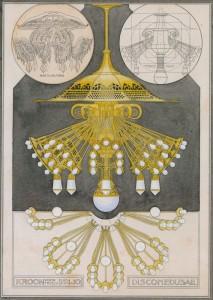 Berlage aquarel kroonluchter op basis van tekening Ernst Haeckel