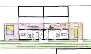 Plattegrond cluster van vier schuurwoningen, prijswinnend ontwerp uit 2011 voor 46 levensloopbestendige woningen in Schipluiden.