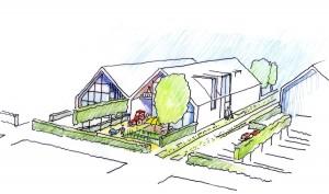 Schets cluster van vier schuurwoningen, prijswinnend ontwerp uit 2011 voor 46 levensloopbestendige woningen in Schipluiden.