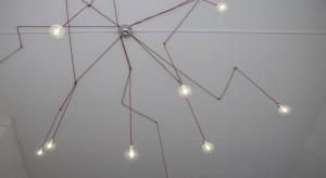 De lamp in het kantoor is onder meer samengesteld uit rood strijkboutsnoer. Foto: Bas Goossens
