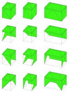 Tritent, site specific tenten voor Stichting Singeldingen in de speeltuin in het Heemraadspark in Rotterdam. De driehoekige geometrie van de tentvorm en het frame vormde de aanleiding om de tenten te verbijzonderen met diagonale openingen en driehoekige ramen. De zijvlakken zijn allemaal anders waardoor de tenten altijd net anders zijn maar samen toch een harmonieus beeld geven.