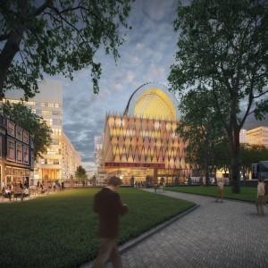 Impressie van het nieuwe Spuiforum van Neutelings Riedijk architecten vanaf de tuin van de Nieuwe Kerk aan de overkant van het Spui.