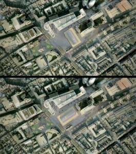 Luchtfoto Spui en omgeving met boven het winnende prijsvraagontwerp uit 2010, en onder het voorstel uit 2012 om het gebouw een kwartslag te draaien, de intimiteit en geslotenheid van de stedelijke ruimten komen hierdoor weer terug. Ook verbetert deze 'move' de aansluitingen met de omgeving.