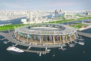 Proeftuin voor Stadion Vloot in Rotterdam, op de voorgrond de Waalhaven. De Olympische Stadion Vloot wordt onderdeel van de boulevardverbinding doordat deze is omsloten door twee brugarmen.