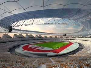 De Olympische Stadion Vloot is een volwaardig stadion met twee doorlopende ringen en een derde ring van kop-segmenten.