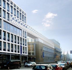 Winnend ontwerp van Rogier Groeneveld voor een loopbrug tussen het Oogziekenhuis en het Ooghuis in Rotterdam, prijsvraag voor jonge architecten in 2010.