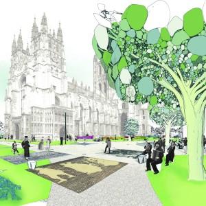 Kossmann.dejong is als enige niet-Britse team geselecteerd voor de shortlist van de Canterbury Cathedral Landscape Design. De opdrachtgever wil het bestaande landschap direct voor de hoofdingang van de kathedraal vernieuwen. Speciale aandacht wordt gevraagd voor de route die bezoekers afleggen door de landschappelijke setting, het voorliggende plein, dat een belangrijk onderdeel uitmaakt van de 'visitor experience'. Foto: Thijs Wolzak