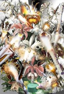 Collage door Rudy Guedj, Martin Huger, Olya Troitskaya en Sophie Rogg, gemaakt met beelden van Ernst Haeckel's Kunstformen der Natur