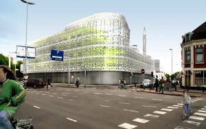 Computerimpressie van Rohmer's ontwerp 2007 voor een stedelijke wand aan het Westplein met glazen gevels