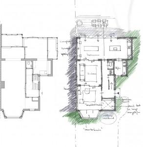 Plattegrond van de bestaande begane grond en schets van de nieuwe situatie van een royaal jaren '30 woonhuis in Driebergen, waarvoor Hollands Huis het ontwerp maakte. De diverse aanbouwen aan de tuinzijde en vreemde hoeken in de woning zijn getransformeerd tot een eenduidige, heldere opzet.