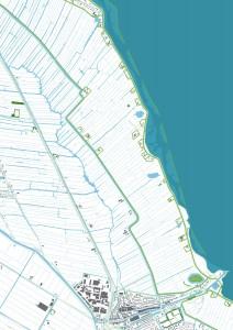 IJsselDelta, een ontwerpend onderzoek naar een klimaatbestendige IJsselmeerregio, gaat uit van een radicale nieuwe denkrichting: het openen van de Afsluitdijk. Door de getijdendynamiek ontstaan landschapsvormende processen als erosie en sedimentatie. Zo groeit het landschap op een natuurlijke wijze mee met de zeespiegel, om zo écht een veilige en klimaatbestendige delta te bouwen. In samenwerking met Jorryt Braaksma, ondersteund door UNESCO IHE en een klankbordgroep met Alterra, Deltares en Imares. - Dubbele dijk bij aanleg.