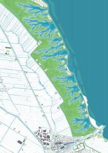 IJsselDelta, een ontwerpend onderzoek naar een klimaatbestendige IJsselmeerregio, gaat uit van een radicale nieuwe denkrichting: het openen van de Afsluitdijk. Door de getijdendynamiek ontstaan landschapsvormende processen als erosie en sedimentatie. Zo groeit het landschap op een natuurlijke wijze mee met de zeespiegel, om zo écht een veilige en klimaatbestendige delta te bouwen. In samenwerking met Jorryt Braaksma, ondersteund door UNESCO IHE en een klankbordgroep met Alterra, Deltares en Imares. - Dubbele dijk na 100 jaar.