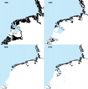 IJsselDelta, een ontwerpend onderzoek naar een klimaatbestendige IJsselmeerregio, gaat uit van een radicale nieuwe denkrichting: het openen van de Afsluitdijk. Door de getijdendynamiek ontstaan landschapsvormende processen als erosie en sedimentatie. Zo groeit het landschap op een natuurlijke wijze mee met de zeespiegel, om zo écht een veilige en klimaatbestendige delta te bouwen. In samenwerking met Jorryt Braaksma, ondersteund door UNESCO IHE en een klankbordgroep met Alterra, Deltares en Imares. - Invloed getijden in de tijd.