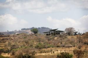 Zicht op World Elephant Centre dat zich voegt in het landschap zonder verstoring van de omgeving.