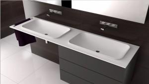 Wastafel met Corian, ontworpen door Thijs Smeets voor Correnti.