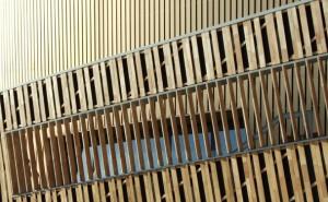 Congrescentrum Micx, met gevel in Robinia en aluminium, architect Daniel Libeskind. Foto H2A
