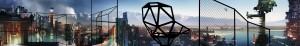 Het 30 meter lange panorama verbeeldt  de toekomstvisie van  Grcic op openbare ruimte, ervoor staan hekken en een Chair_One van Grcic © Neil Campbell Ross, Grafik © Florian Böhm