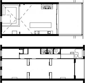 2. Plattegronden van de tweede en zolderverdieping, samen het huis van Bart Cardinaal en Nadine Roos van HUNK Design.