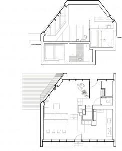 Doorsnede en plattegrond van entree, zit, eet en kookniveau