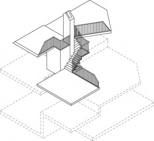 De openhaard en schoorsteen vormen het ruimtelijke en symbolische centrum van het huis waar het vakantieleven op 10 split-level niveaus letterlijk omheen draait