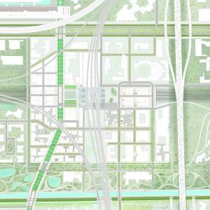 Plankaart met verschillende sferen, functies en arboretum.