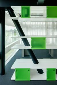 De prominente kolommenstructuur in Creative Valley is als uitgangspunt genomen voor het interieurontwerp