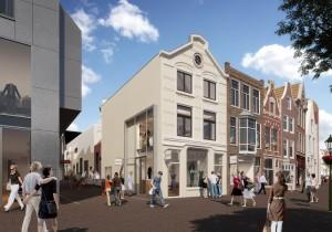 Zicht vanaf de Aalmarkt in de nieuwe Catharinasteeg, waar een mix van grote en middelgrote winkelruimten (in totaal 5.700 m2) komt, met daarboven appartementen.