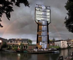 Watertoren Heuveloord naast de Pastoefabriek in Utrecht. Ontwerp en beeld Architectuurbureau Sluijmer en van Leeuwen