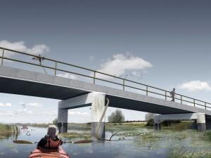 Bruggen voor de ontpoldering van een deel van de Biesbosch, de Noordwaard. Ontwerp: West 8 i.s.m. ipv Delft. Project maakt deel uit van Ruimte voor de Rivier