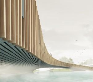 Vlotwaterbrug, Monster. Ontwerp: Next architects. De brug maakt deel uit van een ecologische zone met een fietspad dat zich door het kassengebied slingert naar zee.