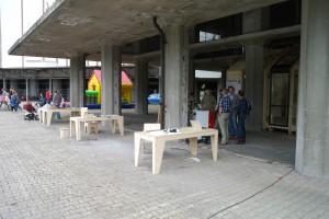 Prototype van het WikiHouse in de Leidse Meelfabriek. Ook meubels worden ontworpen en gebouwd met dit systeem.