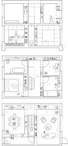 Plattegronden en doorsnede 1:100. A. Ingang B. Garderobe C. Keuken D. Wasruimte E. Woonkamer F. Slaapkamer G. Overloop/bibliotheek H. Wijnkelder.