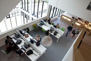 Mediatheek van het R3 Gebouw van Fontys in Eindhoven. Foto Mecanoo