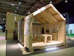 Het tweede Nederlandse prototype van het WikiHouse tijdens de beurs Gevel 2014.