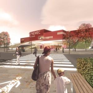 De hoofdingang van de toekomstige Cinemec Nijmegen naar ontwerp van DP6.