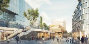 De toekomstige Pathé bioscoop in Arnhem, de gevel is ontworpen door Powerhouse Company.